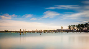 Long exposure of the harbor in Oxford, Maryland. Royalty Free Stock Images