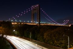Long Exposure. Highway Cars GWB Lights Trees Long Exposure Night West Side Royalty Free Stock Photography