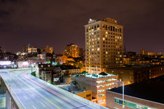 Long Exposure of Highways at Night Time in Baltimore, Maryland Royalty Free Stock Photo