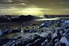 Pebbly Beach Australia infrared scene stock image