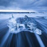 Ice on Diamond Beach in Iceland. Long exposure of ice on Breiðamerkursandur Jokulsarlon ice beach also known as diamond beach. It`s located just off the Royalty Free Stock Photo