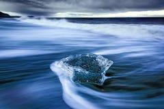 Ice on Diamond Beach in Iceland. Long exposure of ice on Breiðamerkursandur Jokulsarlon ice beach also known as diamond beach. It`s located just off the Stock Image