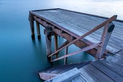 A long exposure of the iconic port elliot jetty in horseshoe bay. Port elliot south australia on 1st november 2018 royalty free stock photography