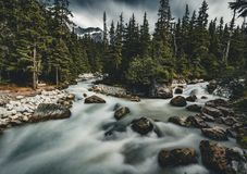 Long Exposure of Illecillewaet river with Mount Sir Donald Glacier National Park Canada. royalty free stock photography