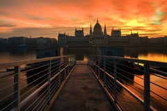 Long exposure image of the hungarian parliament. And dock No 1 in stock photos