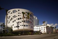 Long exposure image Miami Beach Faena House modern architecture. Long exposure image Faena House Miami Beach long exposure with deep blue sky polarizer filter Stock Image