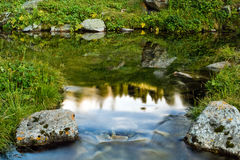 Long exposure image of mountain lake falling and flowing trough Stock Photos