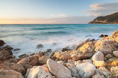 Long exposure image on the rocky beach,  Lefkada Islands, Greece Royalty Free Stock Image