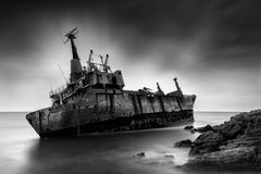 Long exposure image of a shipwreck