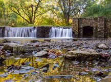 Old Dam on a River in Autumn Royalty Free Stock Photos