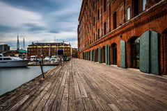 Long exposure of The Inn at Henderson's Wharf along the waterfro Royalty Free Stock Photo
