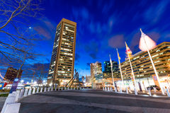 Long Exposure of the Inner Harbor at Night in Baltimore, Maryland stock photos