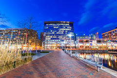 Long Exposure of the Inner Harbor at Night in Baltimore, Maryland stock image