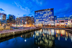 Long Exposure of the Inner Harbor at Night in Baltimore, Maryland stock photography