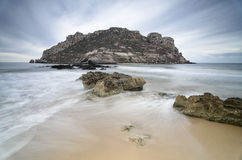 Long exposure of the Isla del Fraile, Spain Royalty Free Stock Image