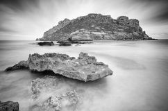 Long exposure of the Isla del Fraile, Spain Royalty Free Stock Photos