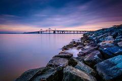 Long exposure of a jetty and the Chesapeake Bay Bridge, from San Stock Photography