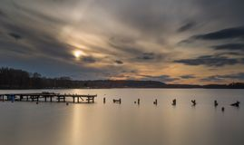 Long exposure lake with jetty Stock Photos