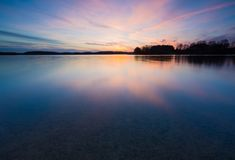 Long exposure lake at sunset Stock Photos