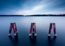 Long exposure landscape with architecture elements. Stock Image