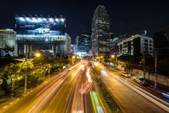 Long exposure landscape of city and traffic lights trail in Bang. Bangkok, Thailand - March 17, 2017: Long exposure landscape of city and traffic lights trail in Stock Photo