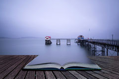 Long exposure landscape of Victorian pier  witn moody sky concep Royalty Free Stock Photography