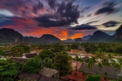 Long exposure landscape view panorama at Sunset in Vang Vieng, L. Aos Royalty Free Stock Photo
