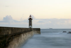 Long exposure of light house in twilight Stock Photo