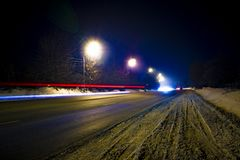 Long exposure light lines stock photography