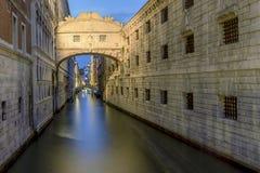 Long exposure light on Ponte dei Sospiri, The bridge of Sighs in Venice, Italy. Europe Royalty Free Stock Photo