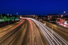 Long Exposure Light Trails Art. London from a distance  Light Trails Art Royalty Free Stock Images