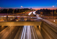 Long Exposure Light Trails Art. London from a distance  Light Trails Art Royalty Free Stock Photo