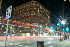 Long exposure light trails and star bursts. In Lowell, MA Stock Photography