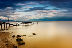Long exposure of magic sunrise. Photographed using ND filter and Royalty Free Stock Photo