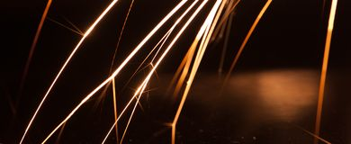 Long exposure magnesium sparks royalty free stock photo