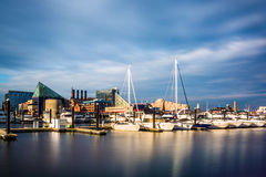 Long exposure of a marina at the Inner Harbor, Baltimore, Maryla Stock Image