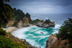 Long exposure of McWay Falls and the Pacific Ocean  Royalty Free Stock Photos