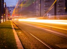 Long Exposure of Metro Subway Tram Passing By in Porto, Portugal. Evening, Night, Light Rail royalty free stock photos