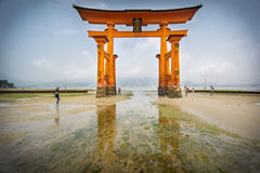 Long exposure in Miyajima, Floating Torii gate, low tide, Japan. Stock Images