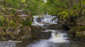 Long exposure with motion blur view of Sgwd Y Bedol and Ddwl Isa Royalty Free Stock Photography