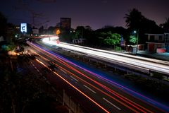 Long exposure on the motorway. M1 on the Fly over of Terre Rouge royalty free stock photography