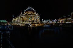 Long exposure of the Museum island with the Bode Museum Royalty Free Stock Image