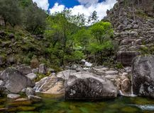 Long exposure natural water stream. Water streams and waterfalls in Geres Portugal stock photography