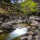 Long exposure natural water stream. Water streams and waterfalls in Geres Portugal stock photos