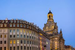 Long exposure of the Neumarkt square and Frauenkirche Church of Our Lady in Dresden on clear night, city square. Historic archit Royalty Free Stock Photography