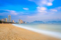 Long exposure of Nha Trang City Beach, Vietnam Royalty Free Stock Photos