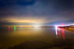 Long exposure at night on the Chesapeake Bay at Kent Island, Mar Royalty Free Stock Photo