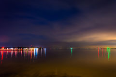 Long exposure at night on the Chesapeake Bay at Kent Island, Mar Royalty Free Stock Image