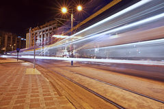 Long exposure at night,Istanbul,Karakoy Royalty Free Stock Photo