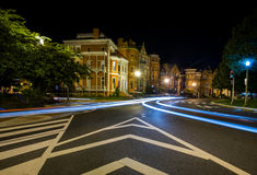 Long Exposure at night of Logan Circle in Downtown DC Royalty Free Stock Photography